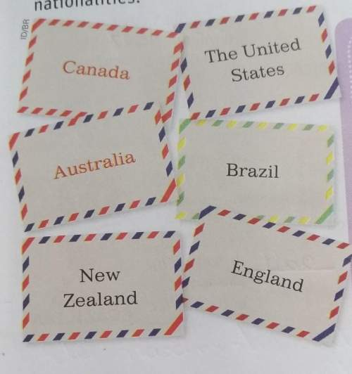 12 pontos copy the names of these countries in alphabetical order. write the corresponding nationali