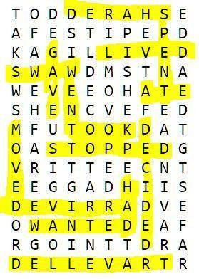 4. Find the past tense forms of the verbs listed below in the puzzle and circle them. Then, choose 5